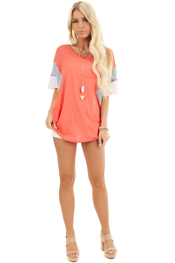 Bright Coral Colorblock Top with Dolman Sleeves front full body