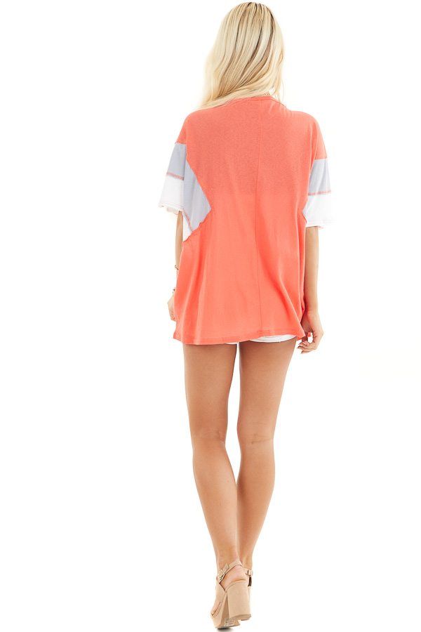 Bright Coral Colorblock Top with Dolman Sleeves back full body