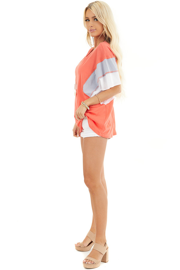 Bright Coral Colorblock Top with Dolman Sleeves side full body