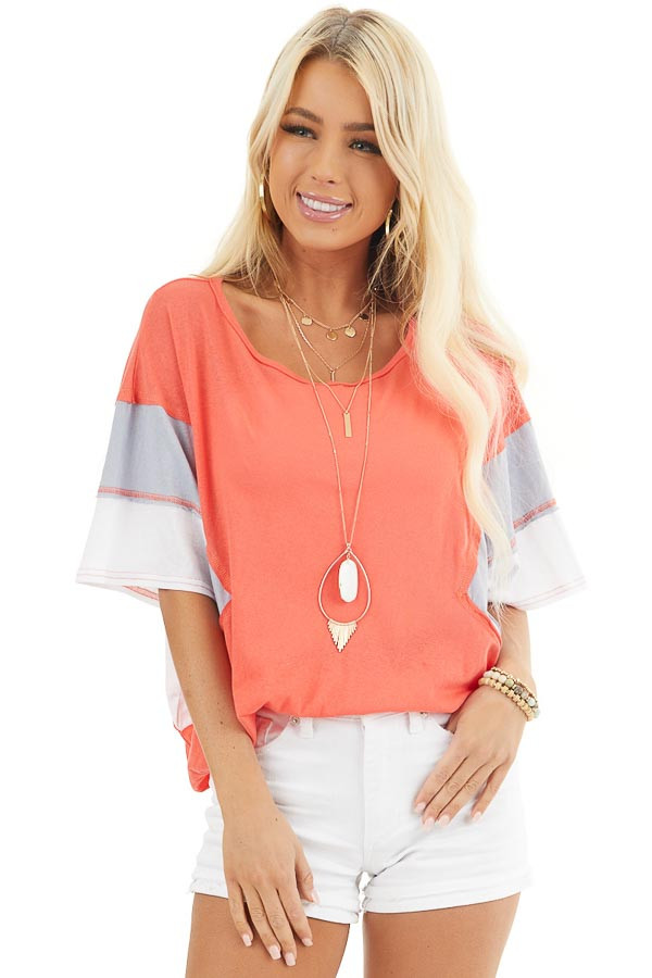 Bright Coral Colorblock Top with Dolman Sleeves front close up
