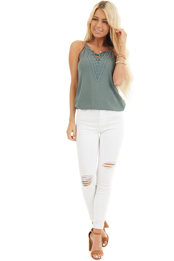 Pine Green Ribbed Tank with Lace Up Bust Detail front full body