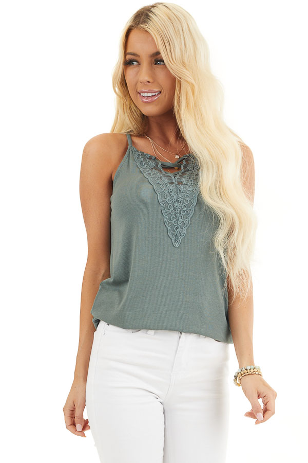 Pine Green Ribbed Tank with Lace Up Bust Detail front close up