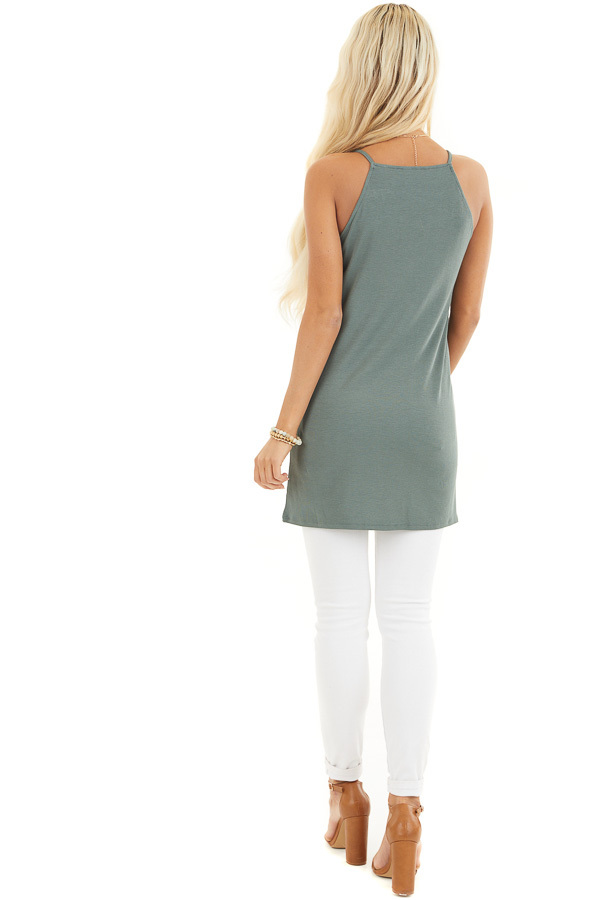 Pine Green Ribbed Tank with Lace Up Bust Detail back full body