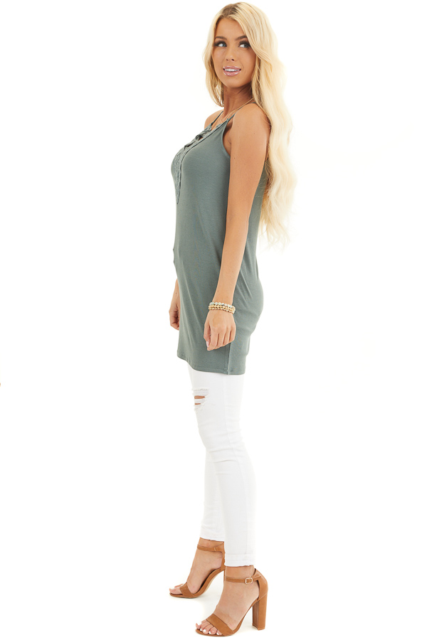 Pine Green Ribbed Tank with Lace Up Bust Detail side full body