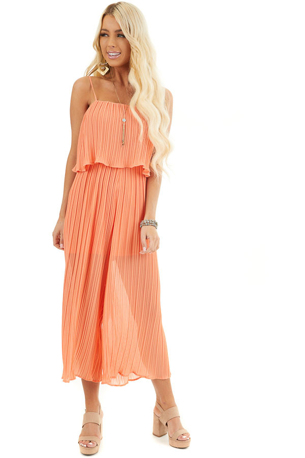 Coral Pleated Jumpsuit with Adjustable Spaghetti Straps front full body
