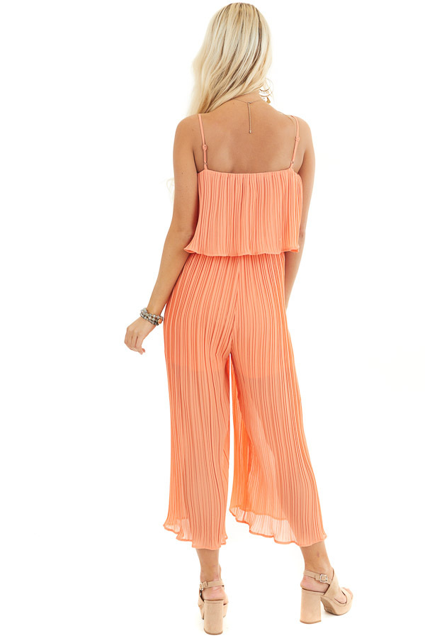 Coral Pleated Jumpsuit with Adjustable Spaghetti Straps back full body