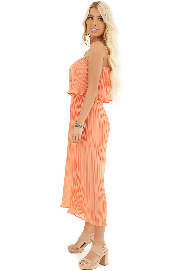 Coral Pleated Jumpsuit with Adjustable Spaghetti Straps side full body