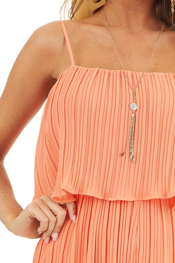 Coral Pleated Jumpsuit with Adjustable Spaghetti Straps detail