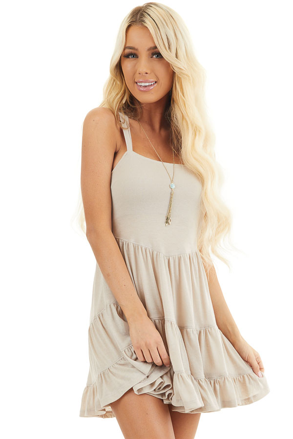 Taupe Babydoll Tiered Tunic Dress with Dual Straps front close up