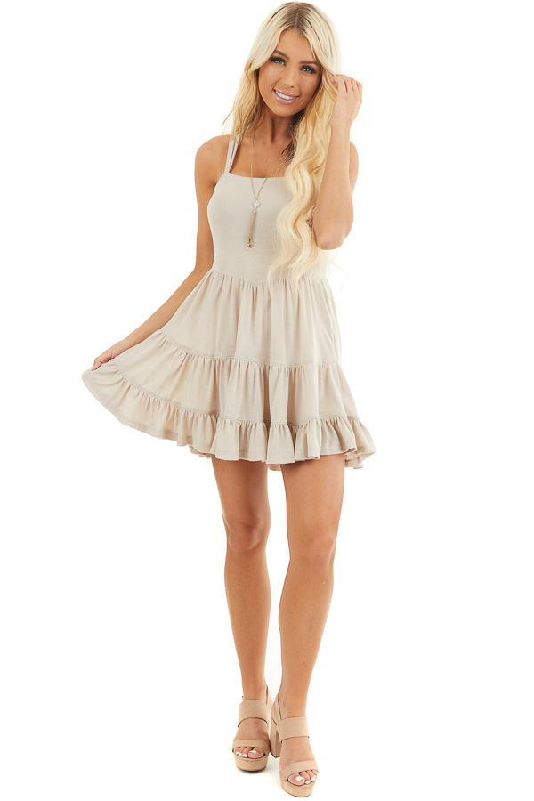 Taupe Babydoll Tiered Tunic Dress with Dual Straps front full body