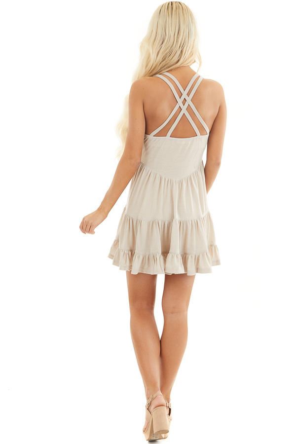 Taupe Babydoll Tiered Tunic Dress with Dual Straps back full body