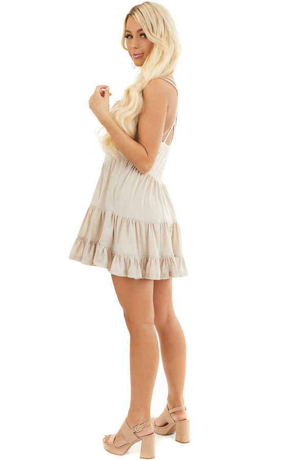 Taupe Babydoll Tiered Tunic Dress with Dual Straps side full body