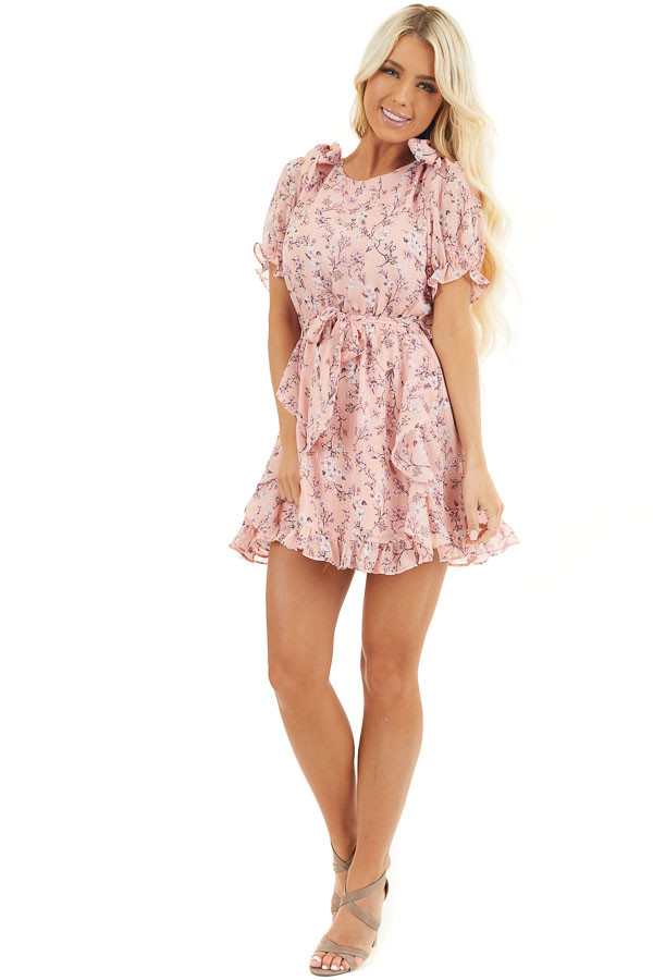 Blush Pink Floral Print Ruffled Mini Dress with Ties front full body