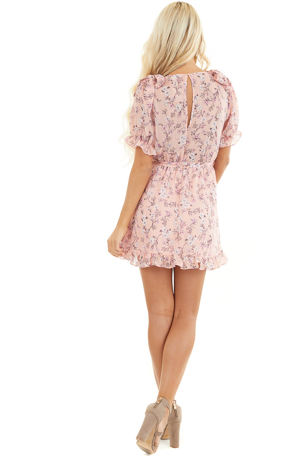 Blush Pink Floral Print Ruffled Mini Dress with Ties back full body