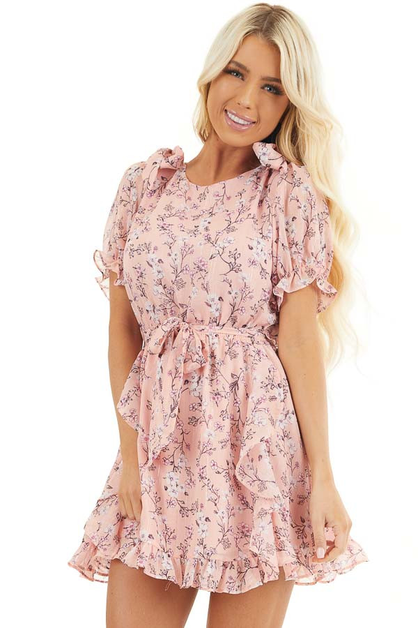 Blush Pink Floral Print Ruffled Mini Dress with Ties front close up