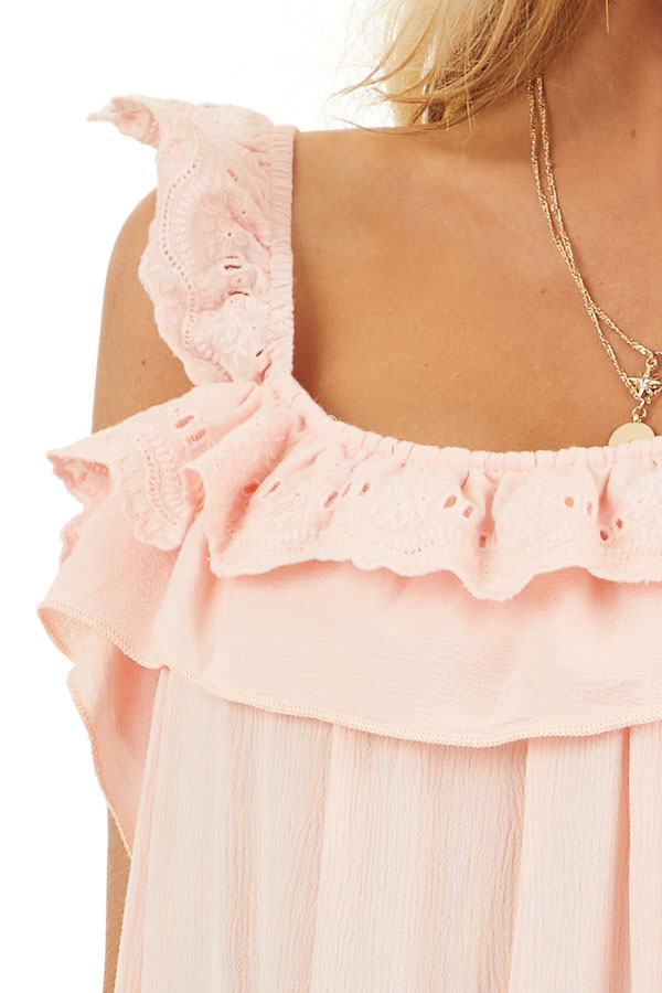 Peach Ruffle and Eyelet Lace Detailed Tank Top detail