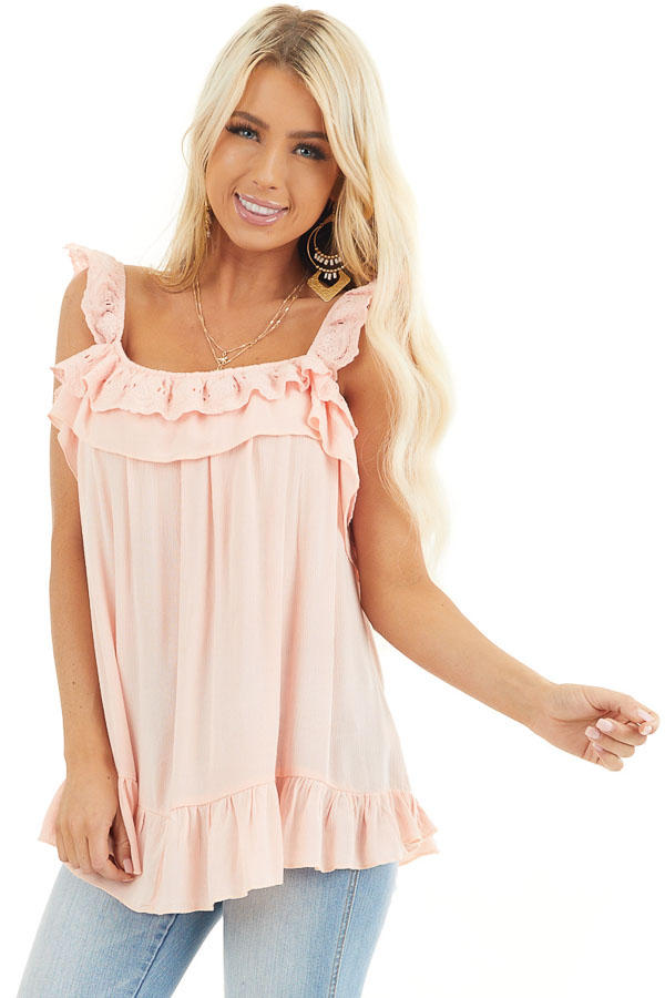 Peach Ruffle and Eyelet Lace Detailed Tank Top front close up