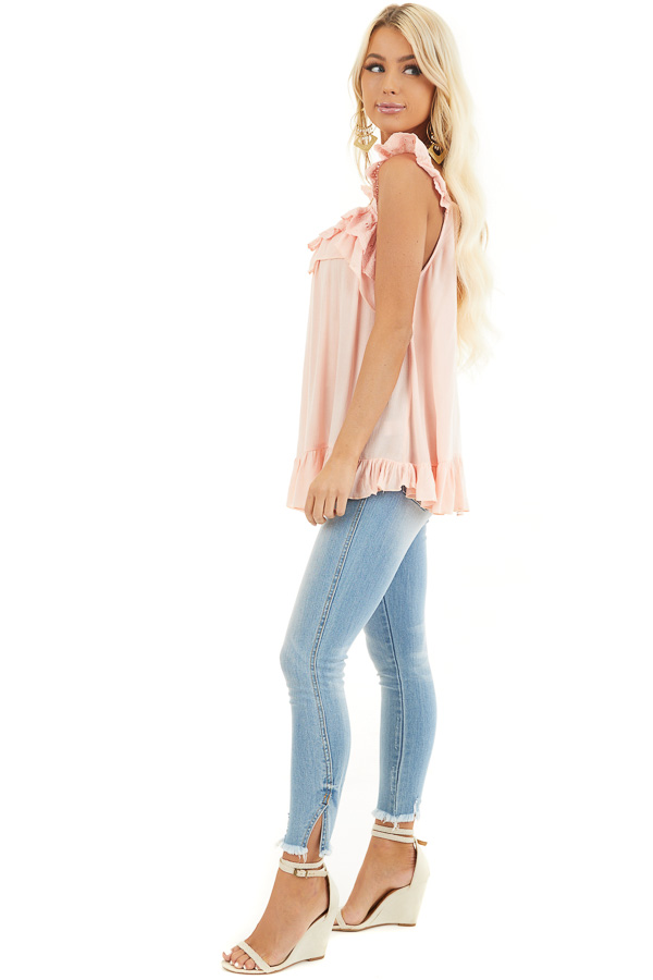 Peach Ruffle and Eyelet Lace Detailed Tank Top side full body