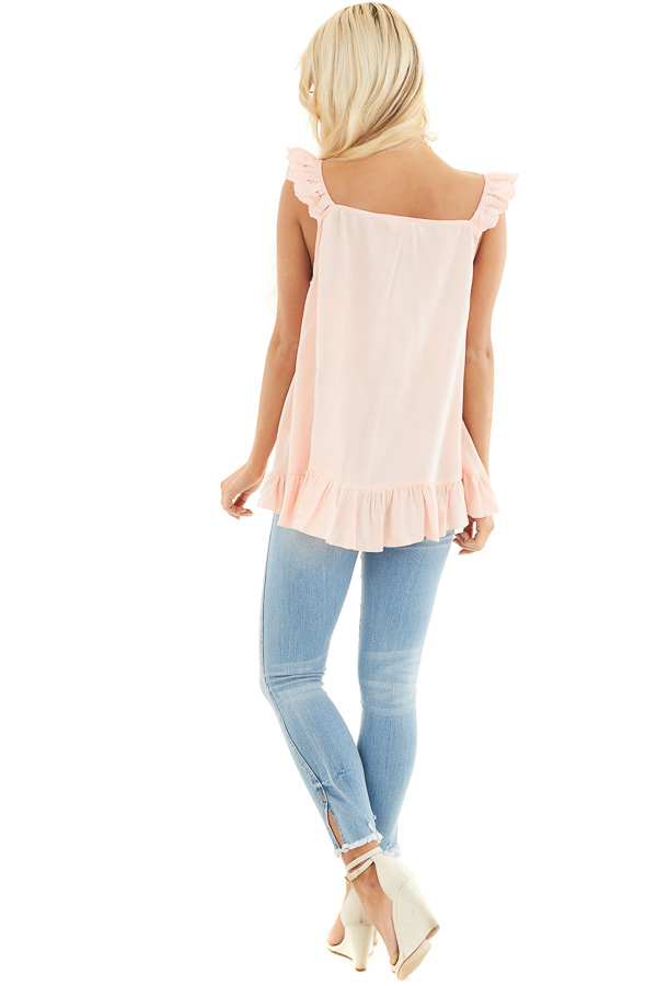 Peach Ruffle and Eyelet Lace Detailed Tank Top back full body