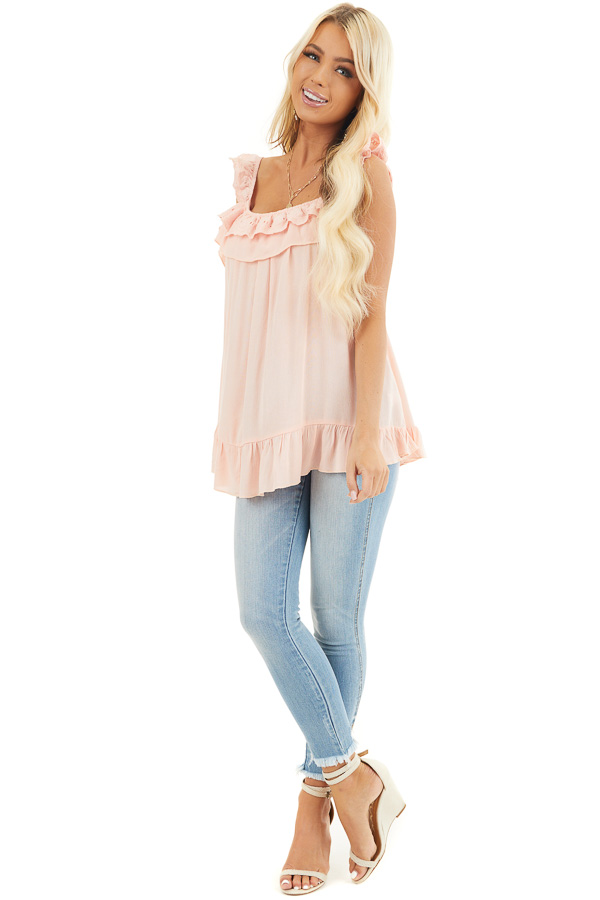 Peach Ruffle and Eyelet Lace Detailed Tank Top front full body