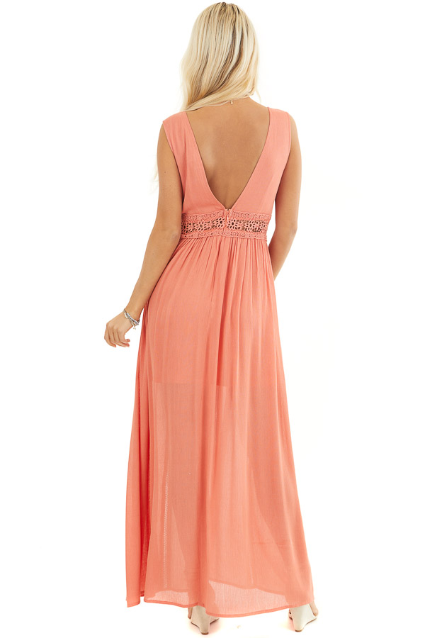 Coral Sleeveless Maxi Dress with Lace and Button Details back full body