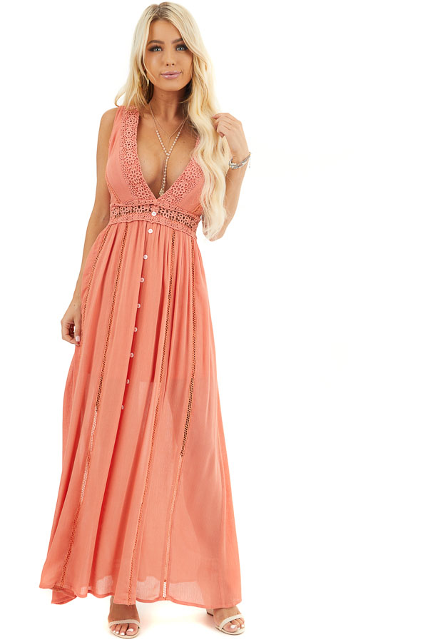 Coral Sleeveless Maxi Dress with Lace and Button Details front full body