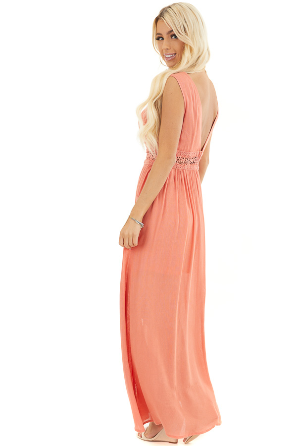 Coral Sleeveless Maxi Dress with Lace and Button Details side full body