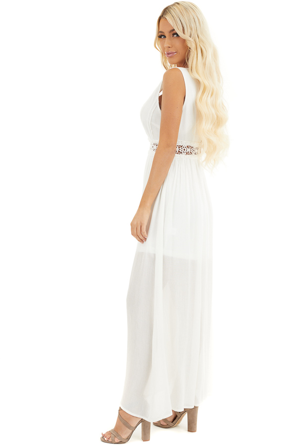 Ivory Sleeveless Maxi Dress with Lace and Button Details side full body