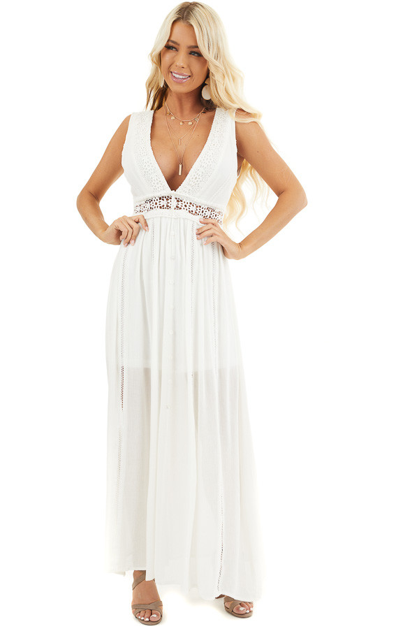 Ivory Sleeveless Maxi Dress with Lace and Button Details front full body