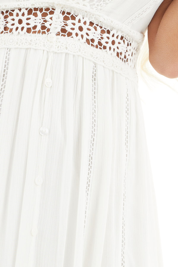 Ivory Sleeveless Maxi Dress with Lace and Button Details detail