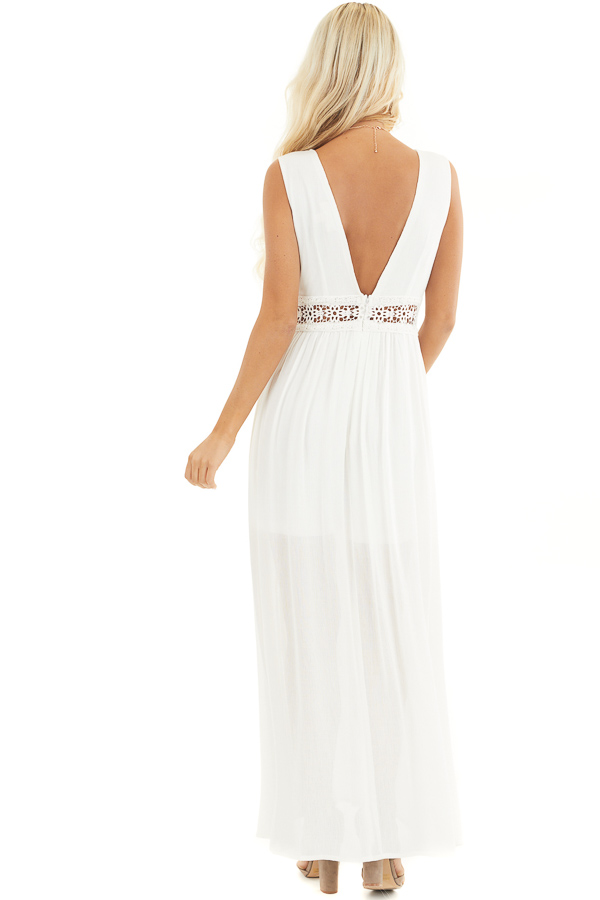 Ivory Sleeveless Maxi Dress with Lace and Button Details back full body