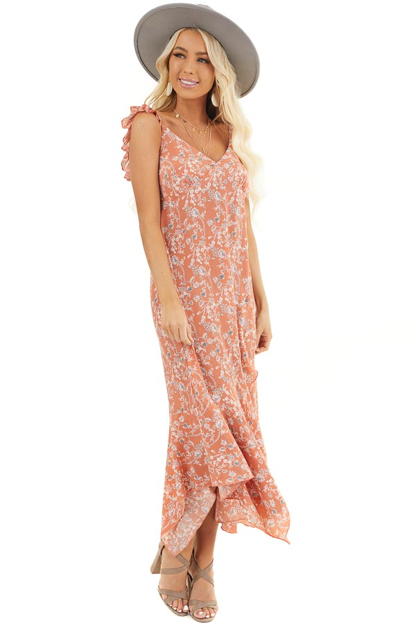 Salmon Floral Printed Woven Dress with Ruffle Details front full body