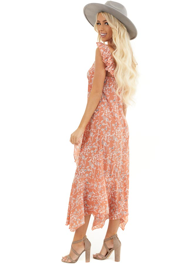 Salmon Floral Printed Woven Dress with Ruffle Details side full body