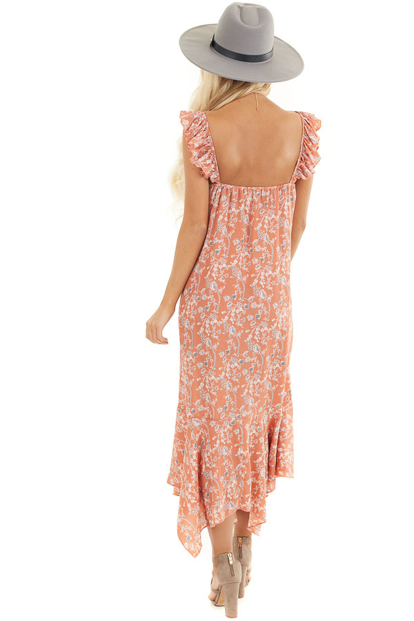 Salmon Floral Printed Woven Dress with Ruffle Details back full body
