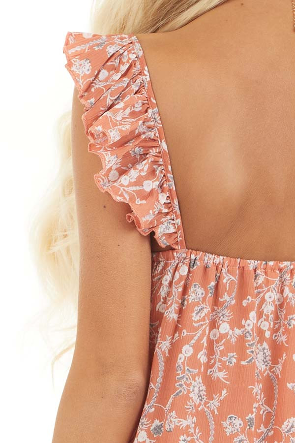 Salmon Floral Printed Woven Dress with Ruffle Details detail