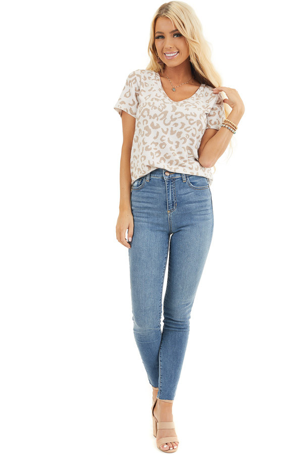 Light Denim High Rise Cropped Skinny Jeans with Raw Hem front full body