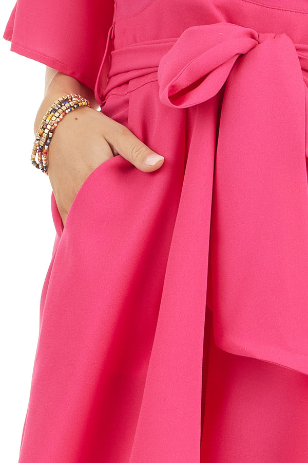 Fuchsia Surplice Short Sleeve Romper with Pockets and Tie detail