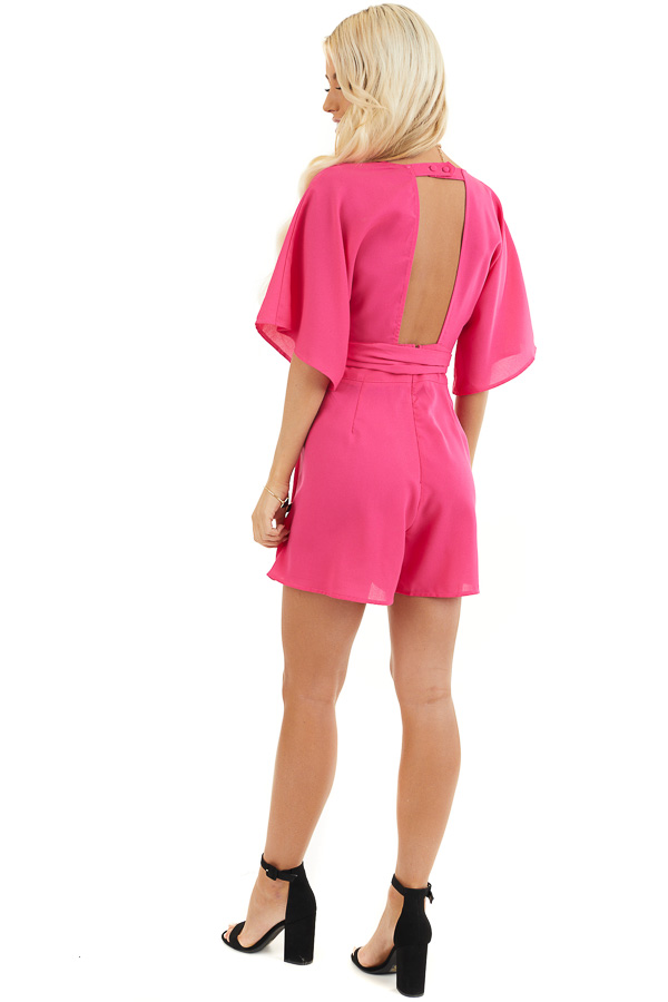 Fuchsia Surplice Short Sleeve Romper with Pockets and Tie back full body