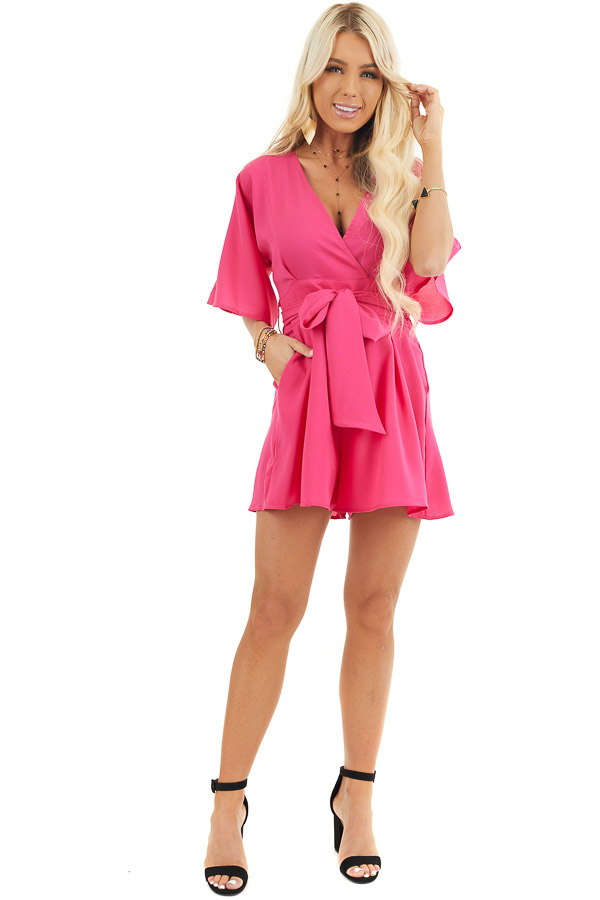 Fuchsia Surplice Short Sleeve Romper with Pockets and Tie front full body