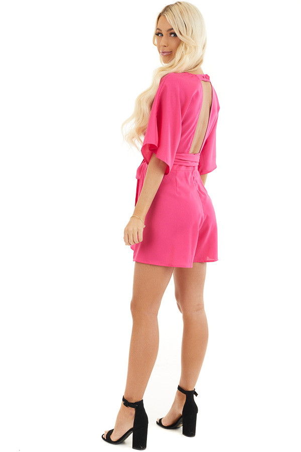 Fuchsia Surplice Short Sleeve Romper with Pockets and Tie side full body