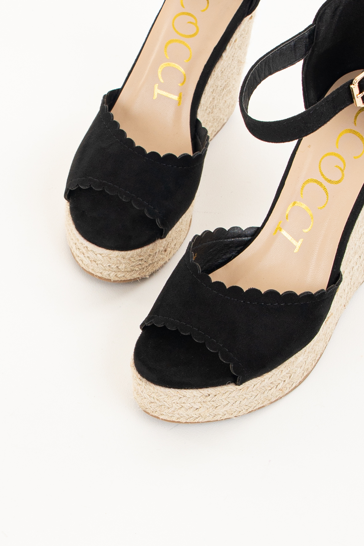 Black Espadrille Wedge Sandals with Scalloped Edges