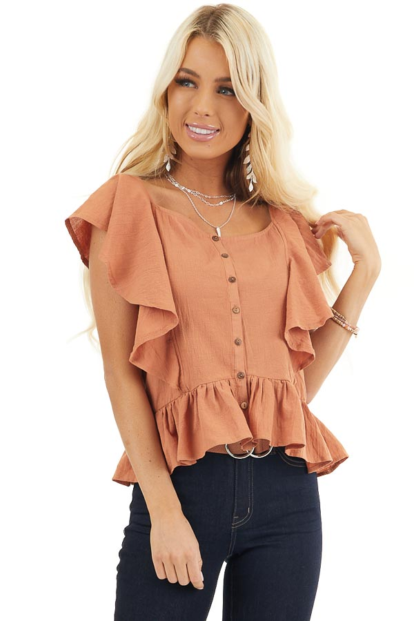 Tawny Button Down Woven Blouse with Ruffle Details front close up