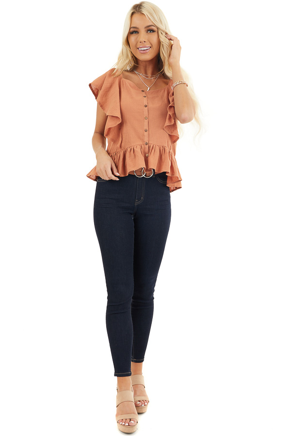 Tawny Button Down Woven Blouse with Ruffle Details front full body