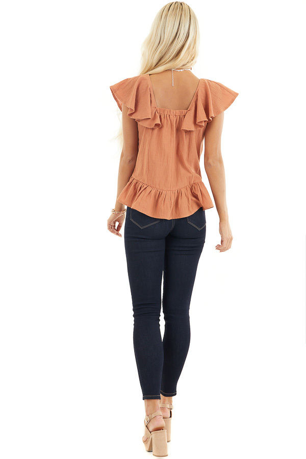 Tawny Button Down Woven Blouse with Ruffle Details back full body