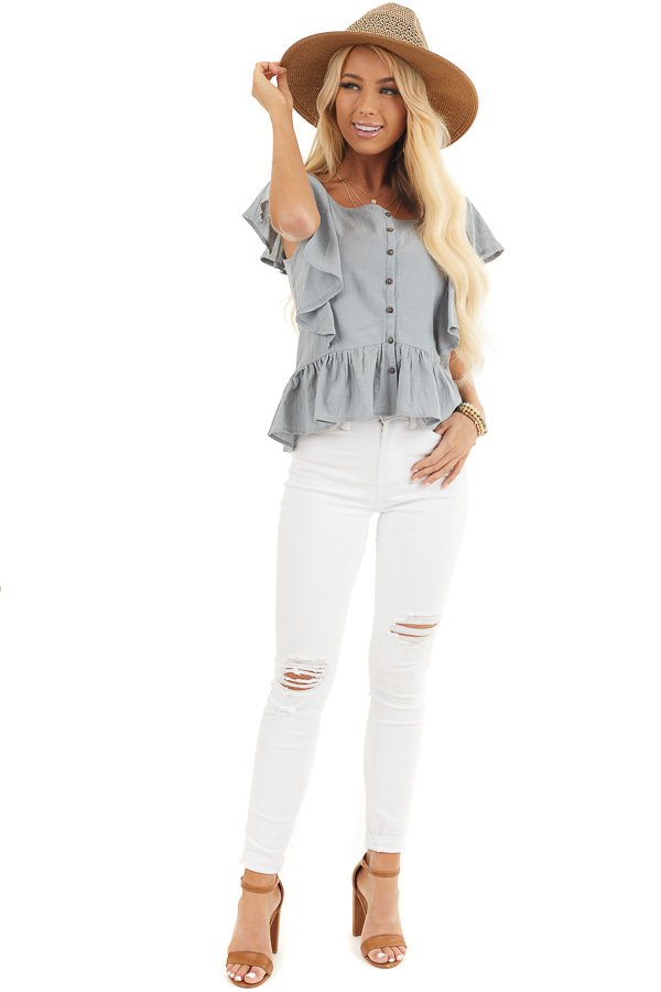 Slate Blue Button Down Woven Blouse with Ruffle Details front full body