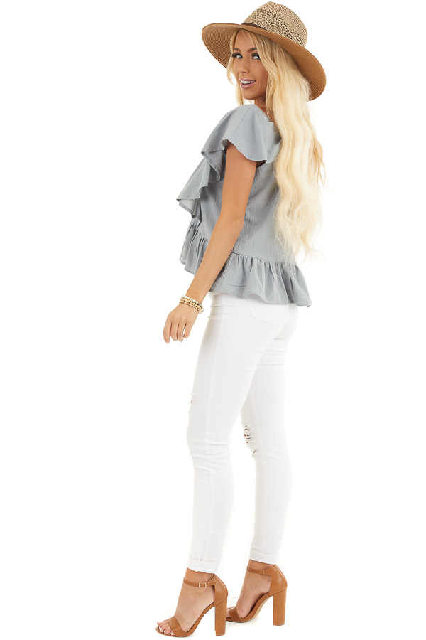 Slate Blue Button Down Woven Blouse with Ruffle Details side full body