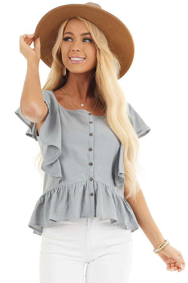 Slate Blue Button Down Woven Blouse with Ruffle Details front close up
