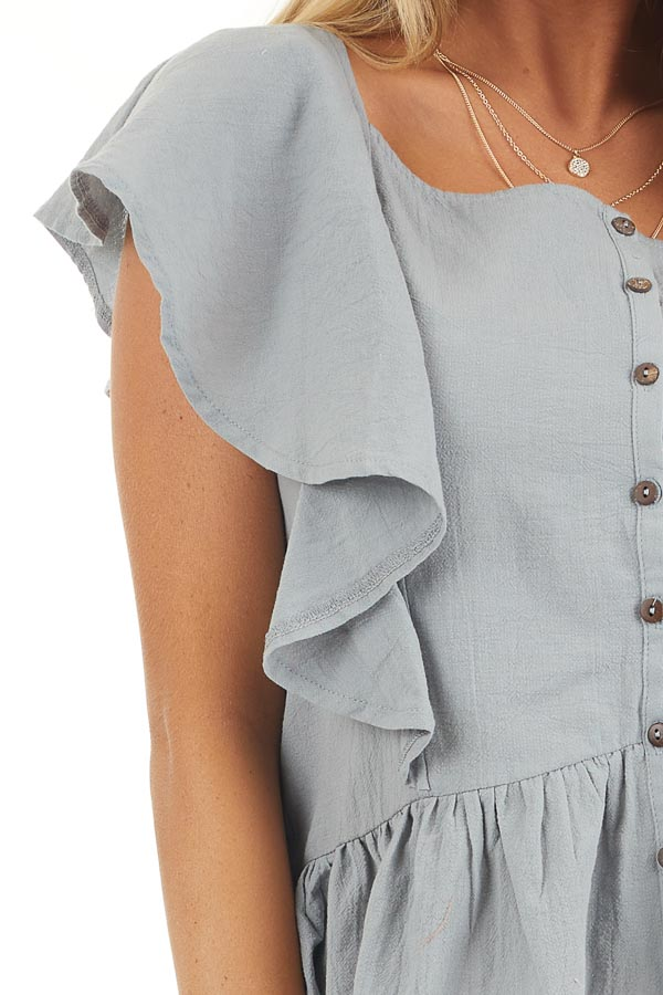 Slate Blue Button Down Woven Blouse with Ruffle Details detail
