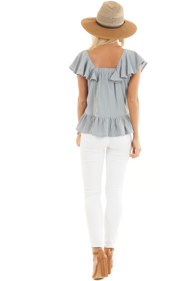Slate Blue Button Down Woven Blouse with Ruffle Details back full body