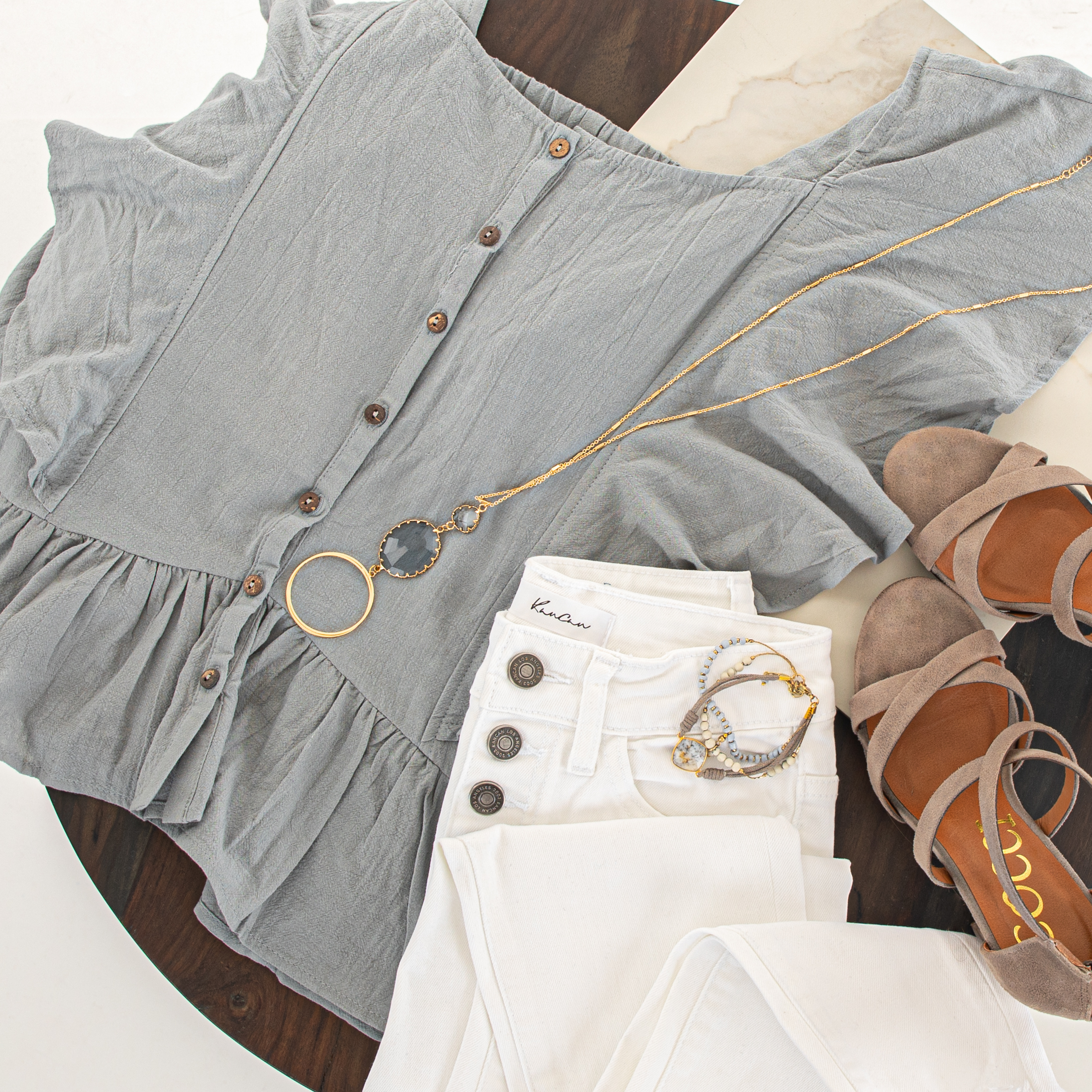 Slate Blue Button Down Woven Blouse with Ruffle Details